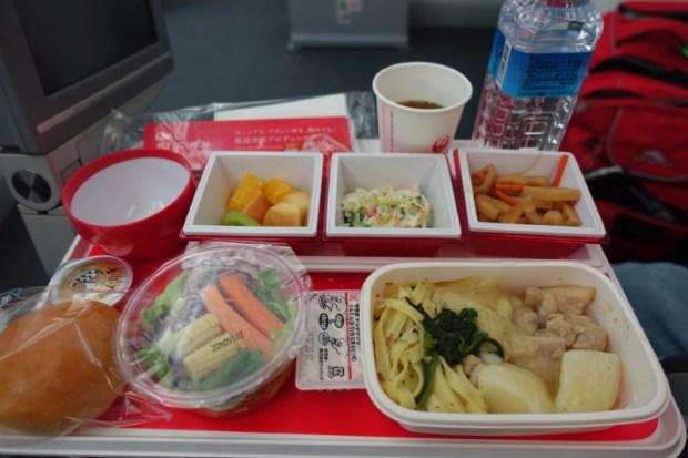 JAL economy 787 NRT BKK chicken dinner option