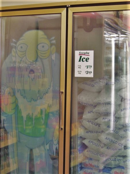 7 Eleven Kwik e Mart Jasper Beardly in the freezer