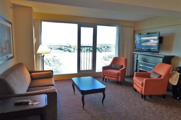 Sheraton on the Falls Corner Suite Couch Fireplace Niagara Falls Hotel ON