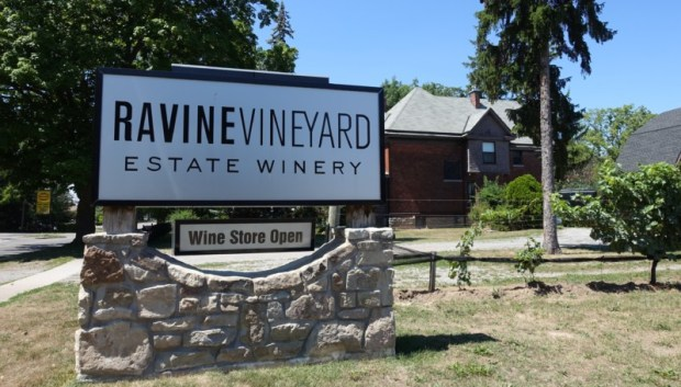 ravine-vineyard-entrance-sign-wine-tasting-niagara