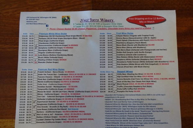 noni-bacca-winery-wilmington-nc-tasting-sheet