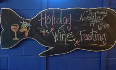topsail-beach-nc-quartermoon-bookstore-holiday-wine-tasting-sign