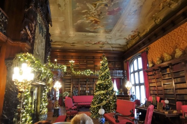 The Biltmore Estate Library decorated for Christmas