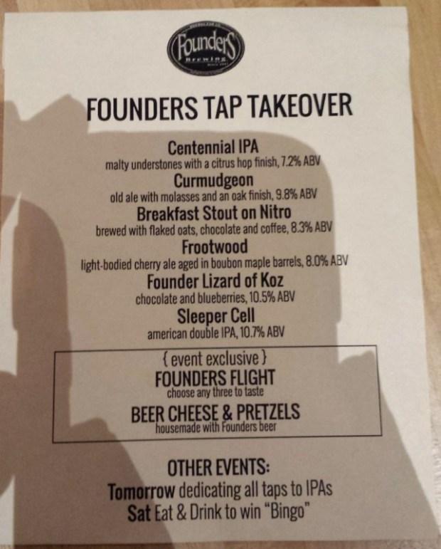 SF Beer Week Nom Founders Tap Takeover Menu
