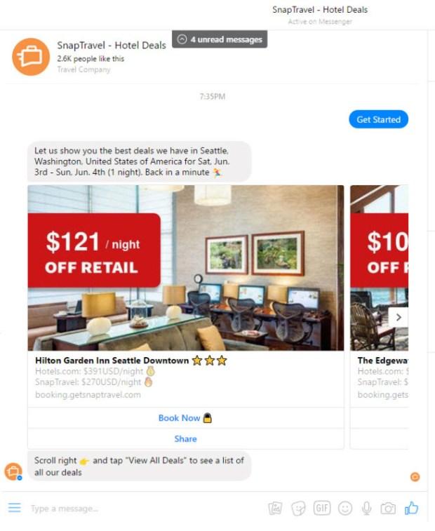 Snap Travel Deals via Messenger