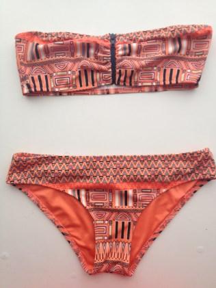 Urban Outfitters Orange Aztec Print Bandeau Bikini