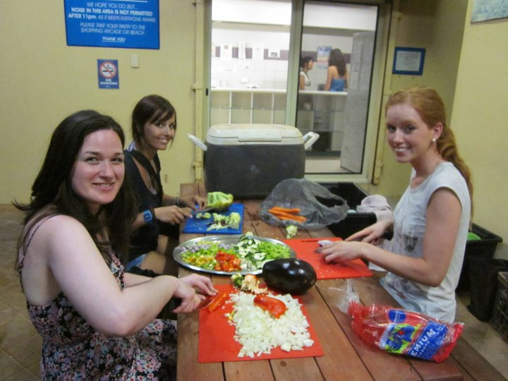 Preparing dinner in a hostel in Coral Bay, Australia