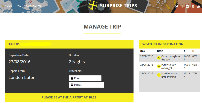 Surprise Trips Page