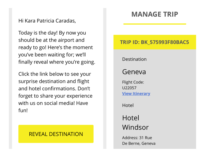 Surprise Trips emails