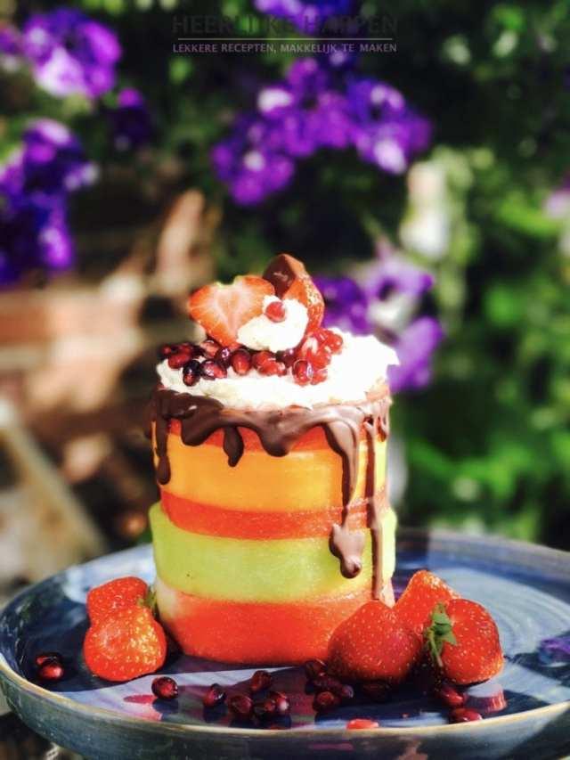 Meloen torentje met mascarpone en chocolade