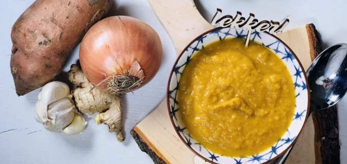 Zoete aardappel gember soep