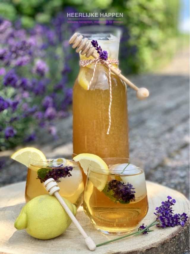Huisgemaakte lavendelhoning citroen icetea