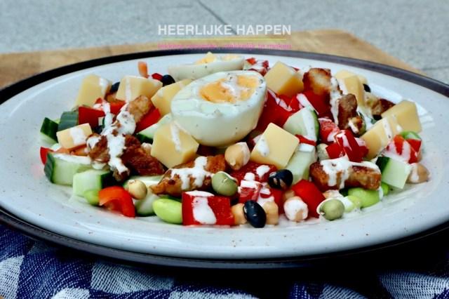 Goedgevulde proteïne salade