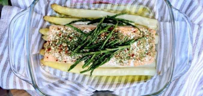 Zalm uit de oven met asperges