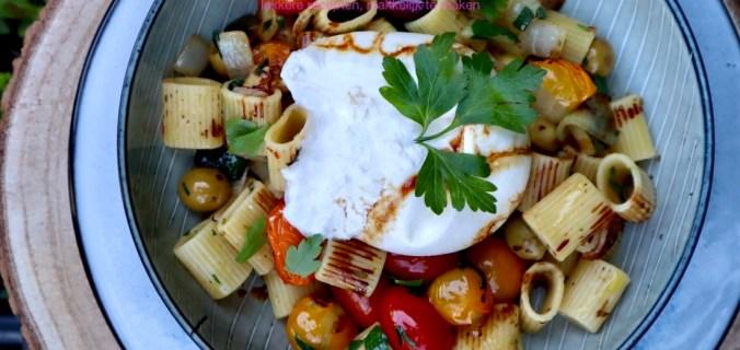 Burrata pasta met verse groenten