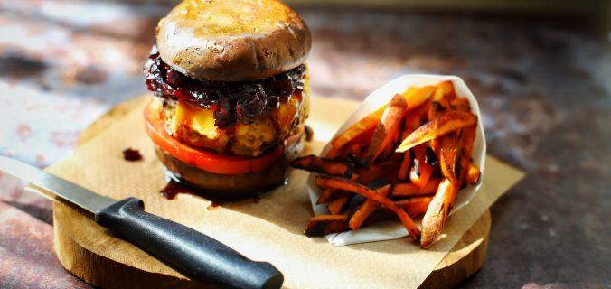 Kipburger met portobello broodje