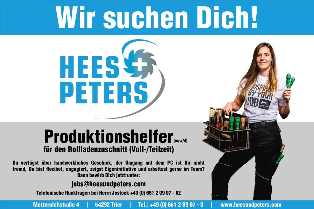 HEES + PETERS Stellenausschreibung_Produktionshelfer_Rollladen