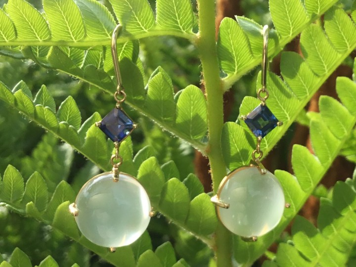 Cat's Eye Moonstone and Sapphire Dangles