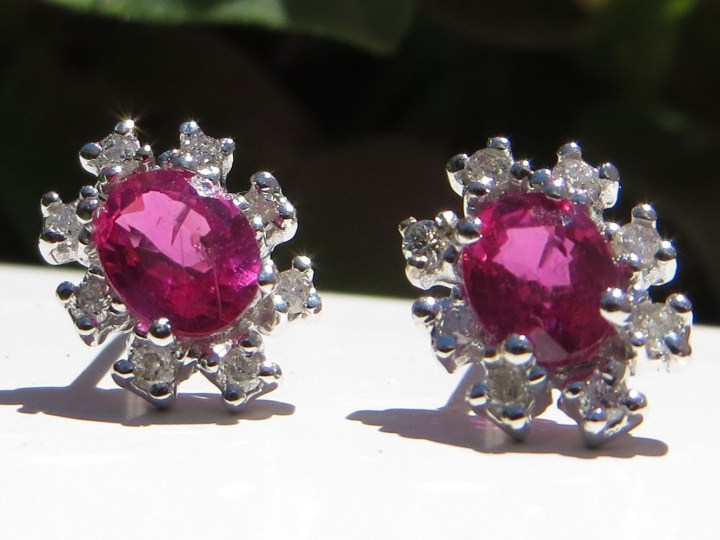 Ruby Earrings with Diamond Halo