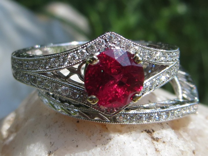 Burmese Ruby and Diamond Wedding Ring Set