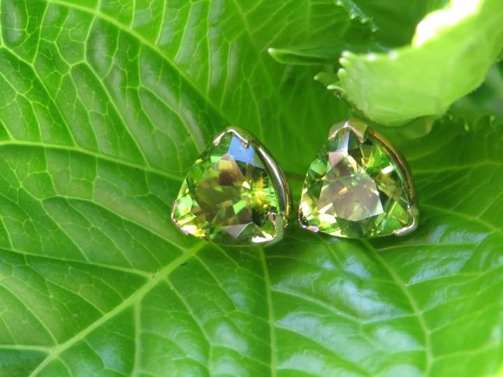 Trillion, Peridot, Peridots, Stud, Studs, Earring Earrings, Gold, Yellow Gold, 14Kt Gold, 14Kt Yellow Gold, Providence, Jewelry Store, Jewelry, Jeweler, Fine Jewelry, Custom, Custom-Made, Handmade, Platinum, Engagement, Wedding, Hegeman & Co.