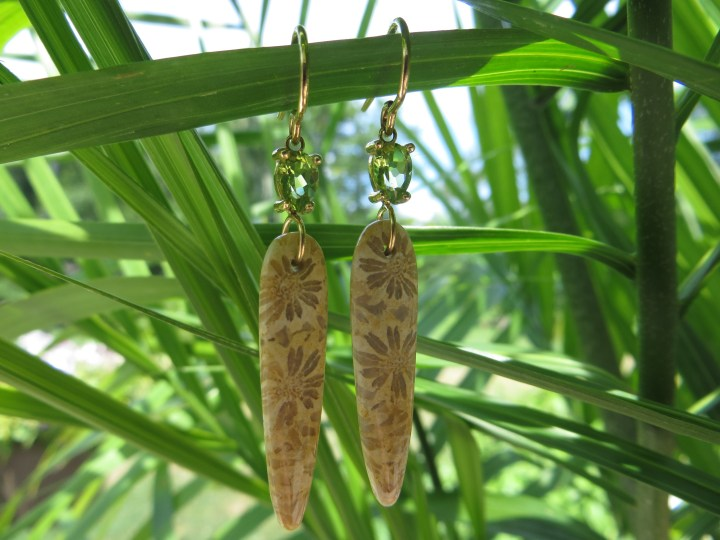 Fossilized Coral and Peridot Dangle Earrings