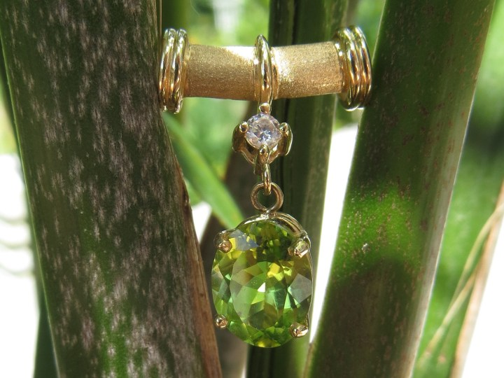 Peridot and Diamond Slide Pendant