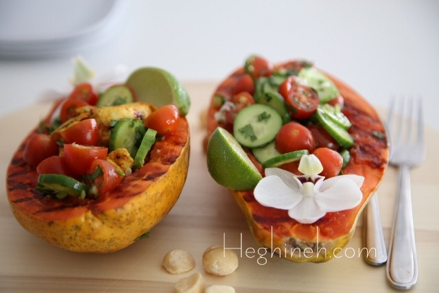 Chicken Veggies Stuffed Papaya Recipe