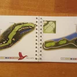 Vorbildlich auch das Birdie Book von Achental. Sehr einfach zu lesende Zeichnungen, wichtige Punkte sind sowohl zum Abschlag als auch zum Grünanfang gemessen. Die Grenzen zwischen Fairway, Semi- und Hard Rough sind gut einzuschätzen. Einzig die seitliche Perspektive ist ein bisschen gewöhnungsbedürftig.