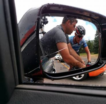 The job of a mechanic during the Tour of Utah.