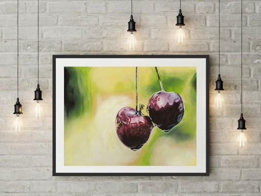 Originalt maleri af to friske kirsebær - Heidi Berthelsen