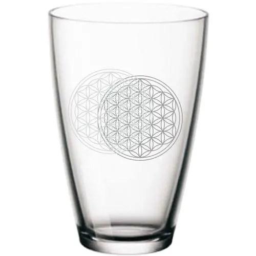 Wasserglas Blume des Lebens beide Seiten
