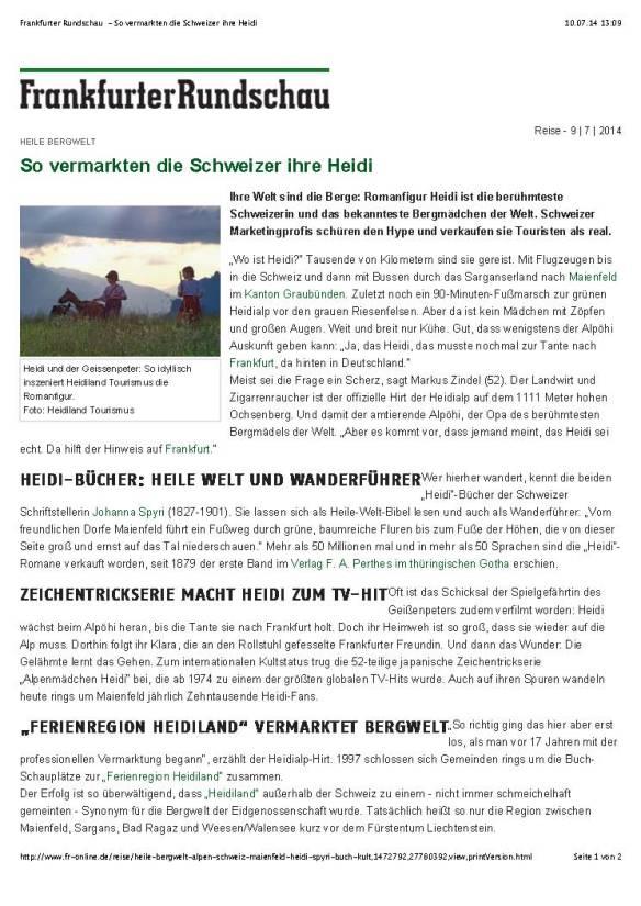 Frankfurter Rundschau - So vermarkten die Schweizer ihre Heidi_Seite_1