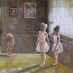 Ballet class in oil