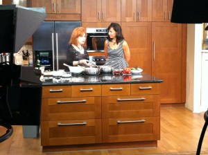 Heidi Bilotto and Colleen Odegaard cook on the set of WCNC's Charlotte Today