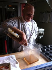 Chef Ref  Billy Seay portions out the rum
