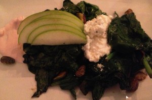 Warm Greens Salad with homemade ricotta and a delicious radish crema