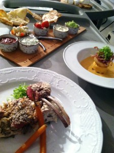 Behind the scenes: finished plates sit atop a Rubbermaid hand cart until it was time to shoot the restaurant segment