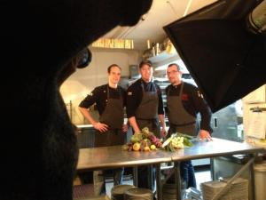 from left, chefs Evan Micek, chef Matthew Krenz and chef Luca Annunziata make their Food Network debut on Feb 19 at 9 pm