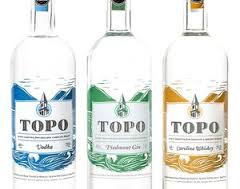 TOPO distilleries in Chapel Hill NC makes local 100% organic vodka, gin and whiskey