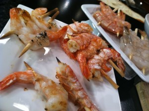 "Shimp is most easily grilled when it is double skewered - don't forget to skewer and grill single shrimp for a fun ""Shrimp on a Stick"" app"