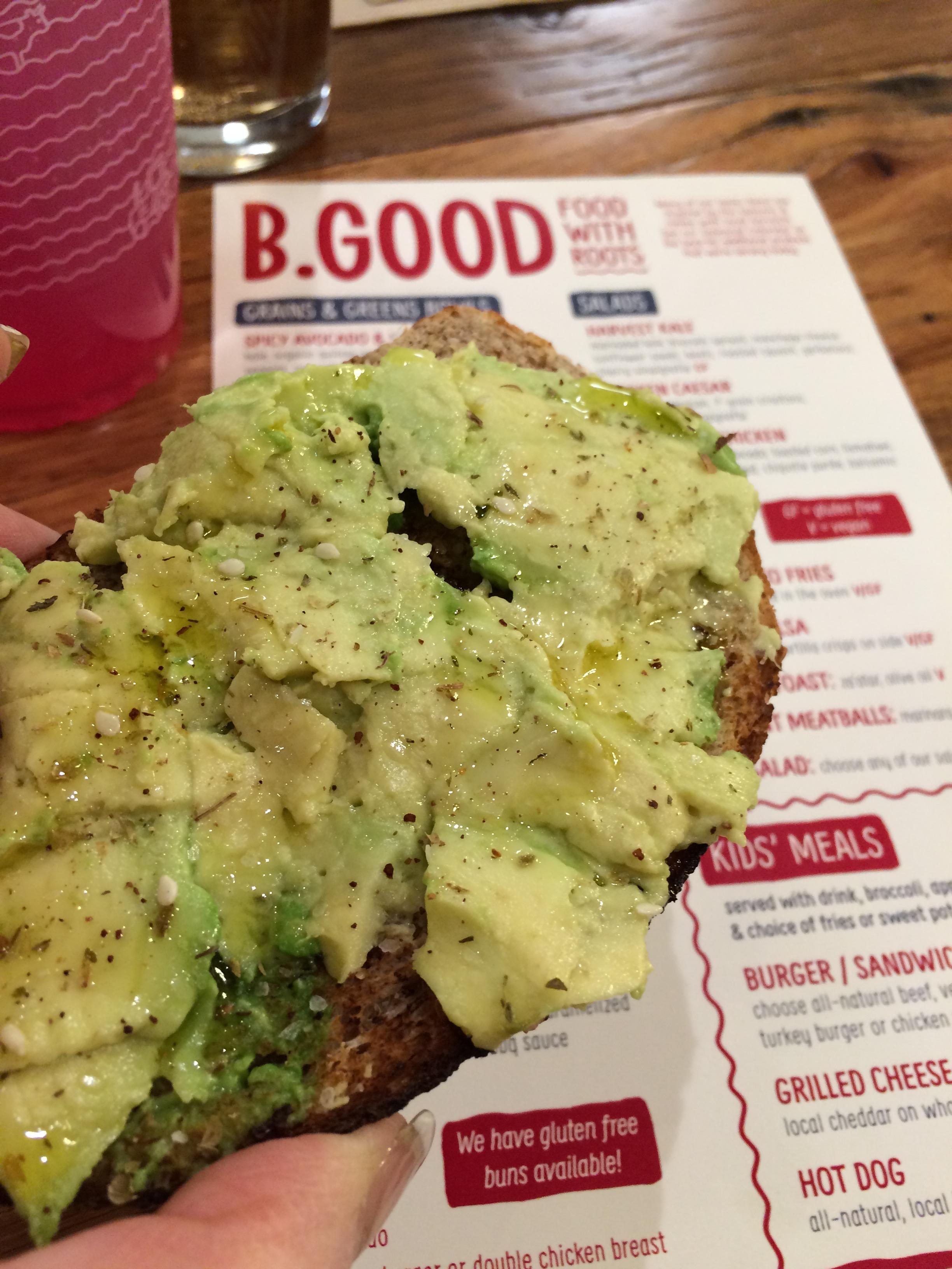 Avocade Toast from B. Good