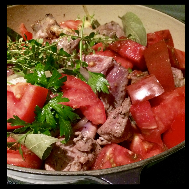 Braised Local Goat with Summer Tomatoes and Herbs