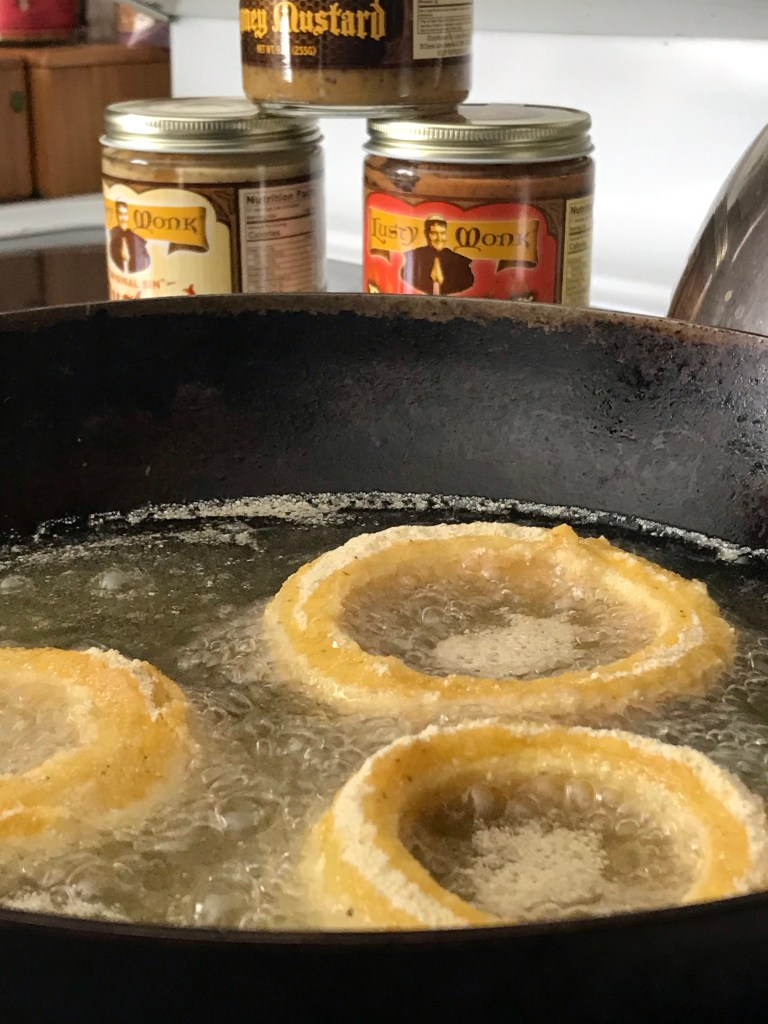 onion rings in the oil