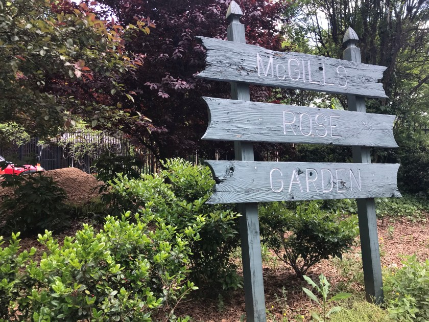 sign and garden