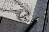 Hand drawn Haiku journal about migraine - illustrated by Heidi Burton