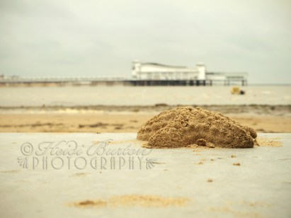 Lonely little starfish sandcastle sitting on the seafront