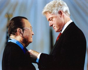 U.S. Senator Daniel receives the Medal of Honor from Pres. Bill Clinton