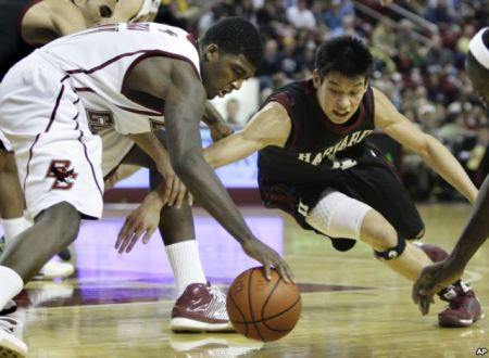 Jeremy Lin, right, playing basketball for Harvard in an NCAA basketball game in Boston, Dec. 9, 2009. | AP Photo