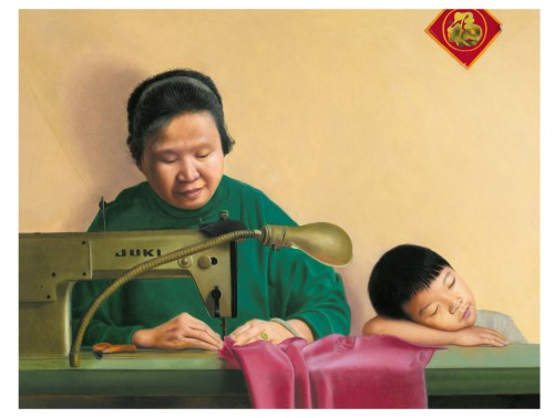 After working 12 hours a day in a Chinatown sweatshop, Kam Mak's mother would also take work home and work on it after dinner to earn more money to support them. Artwork by Kam Mak.